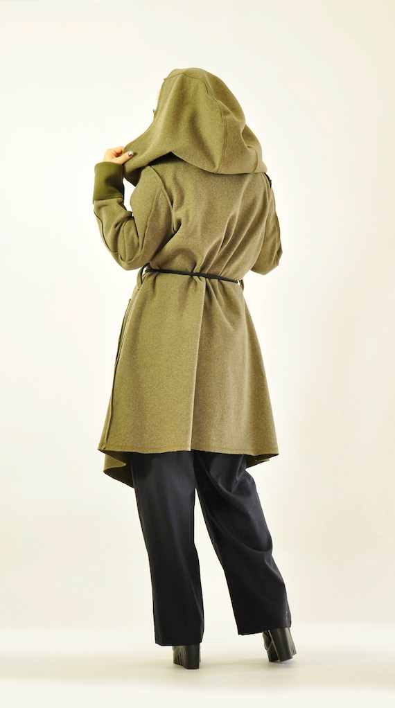 Military Maxi maxi Hooded Wool Coat Jacket NEW J0378 Cardigan Green Winter Jacket Jacket Wool Coat Woman Long Casual Loose 7X0dxS