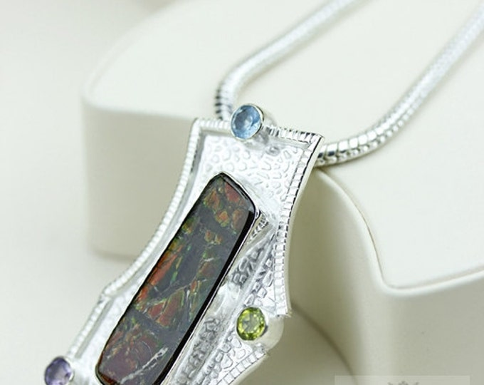Mix of Colors! GENUINE Canadian AMMOLITE 925 Solid Sterling Silver Pendant + 4mm Snake Chain & FREE Worldwide Shipping P1495