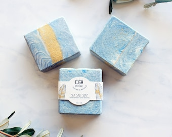 All Natural Sea Salt Soap, Artisan Vegan Soap Bar, Indigo Blue Natural Colors