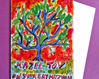 Bat Mitzvah Card, Tree of Life, Hand Painted Card, Mazel Tov, Tree of Life Painting, Jewish Cards, Handmade Card, Original painting, Judaic