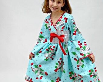 Girls Kimono Dress, Girls Dresses, Flower Girl Dresses, Toddler Kimono dresses, Asian kimono, Girls Clothing, blue, red, size 2T - 8