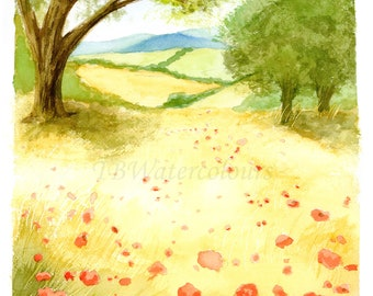 Watercolour landscape poppy field illustration