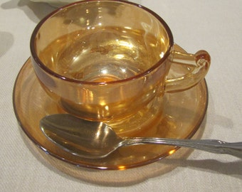Carnival Glass Cup and Saucer Jeannette Glass Moderne