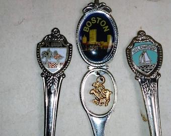 Souvenir/Collectible Spoons Set Of 3/Boston, Florida, Wildwood Used (Sw)
