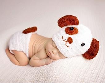Puppy dog, 2pc hat and bottoms newborn size