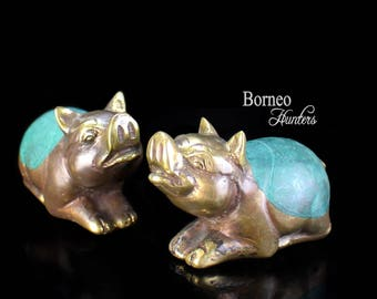 """Pig Sculpture 2.8""""Brass Piglet Figurine, Set Of 2 Little Handcrafted Good Luck Fortune Cute Fun Pig/Good Will&Love For Your Home Decor"""