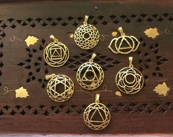 7 Chakras Symbol Pendant yoga jewelry statement jewelry pendant necklace Charms  7 Chakras Jewelry everyday jewelry Bohemian Gift boho