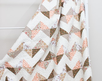 """Soft Floral Earth Tone Chevron Handmade Quilt (73"""" x 88"""") Twin Size"""