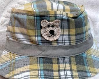 Boys Toddler Fishing Bucket Hat - Handmade Teddybear Face -  Grey, Blue, Yellow Plaid - Sizes 12-24  months, 2T-3T, 4T-5T