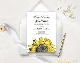 Printable Wedding Invitation Country Wedding Invitation Fall Wedding Invite Rustic Invitation Sunflower Wedding Invitation Editable PDF #SFS