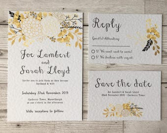 autumn floral wedding stationery - wedding invitations