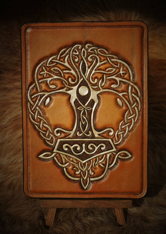 Viking, leather, greeting, mini birthday card gift table, yggdrasill Mjöllnir tooled leather