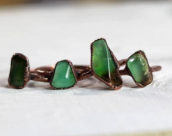 Chrysoprase Ring - Copper Ring - Natural Crystal Ring