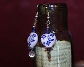 SALE!! Steampunk China Blue Moon Dangle Earrings on Hypo-Allergenic Hooks
