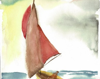 freedom, original watercolor painting of a sailboat