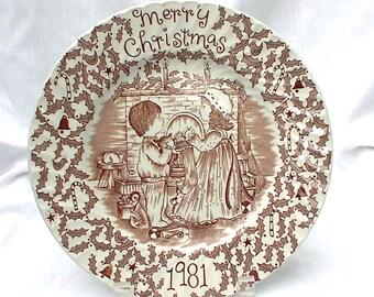 Royal Crownford 1981 Merry Christmas Brown Transferware Plate Norma Sherman