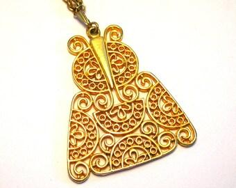 Vintage Filigree Owl Necklace - Gold Tone Owl Necklace - Retro Owl Jewelry - Vintage Jewelry
