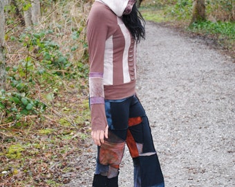 Magna Hoodie - Organic Bamboo Hoodie - Hand Dyed Festival Clothing - Gypsy Boho - Patchwork Hooded Top - Long Sleeve Shirt - Hippie Clothes