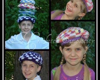 Crochet Pattern: Kids Flat Cap, Sizes 6m thru 10 yrs Permission to Sell Finished Items