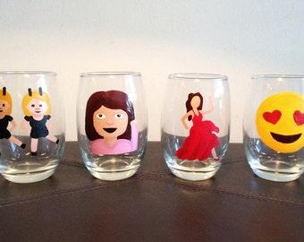 Emoji Stemless Wine Glasses, Set of 4