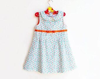TWEET TWEET Girl Dress pattern Pdf sewing, Sleeveless Sundress, Peter Pan Collar Dress, Pleated Dress, toddler  size 3 4 5 6 7 8 9 10 years