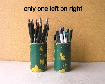 Green Yellow Pencil holder for desk unique pen cup toothbrush holder upcycled metal street post industrial office organizer new job Gift