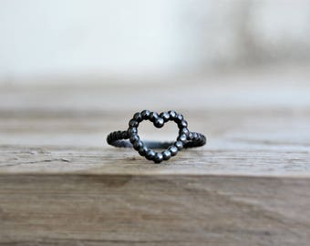 Promise ring for girlfriend. Heart ring sterling silver. Love jewelry for women. Oxidized silver ring. Stackable rings. Thin ring for women