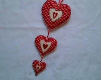 Fabric hearts, red, cream, spotted, hand stitched, valentine's Day, kitchen decor, grandparent gift, teacher gift, rustic, birthday present