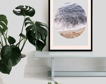 Abstract and minimalist print, beach and ocean illustration, graphic design, california print, for wall decoration, in many sizes