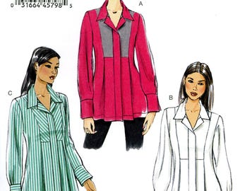 Vogue V9058 Easy Tunic Top Front Insets Long Sleeves Size 8 10 12 14 16 Uncut Sewing Pattern 2014