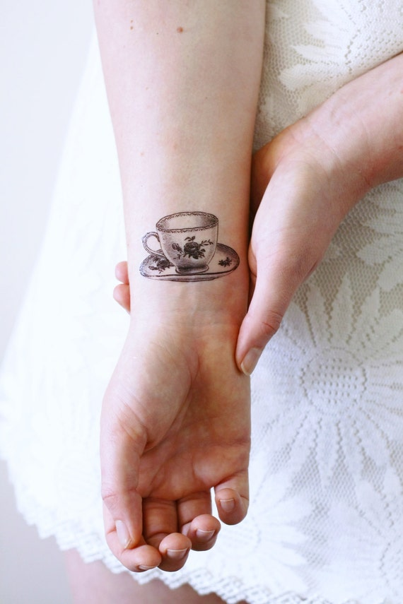 Small teacup temporary tattoo / tea temporary tattoo / tea
