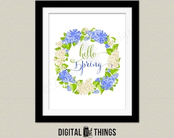 Inspirational Flower Floral Wreath Hello Spring Quote Printable Art Print Typography Print. Spring Decor Digital Instant Download DT1958