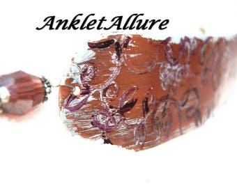 BoHo Anklet Renaissance Ankle Bracelet CUFF Anklet Painted Copper Anklet Plum Anklets for Women