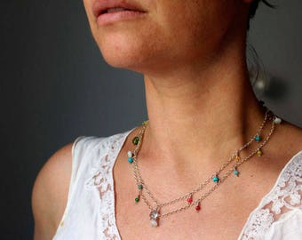 Long silver chain and silver stones, gift-wrapped, neck/anklet/bracelet chain necklace/Choker