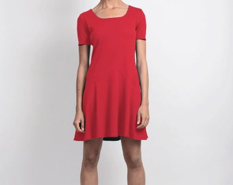 SALE Tallulah Dropped Waist Shift Dress with Flared Skirt. Minimalist Jersey Day Dress with Zig Zag Detail. Simple Scoop Neck T-Shirt Dress