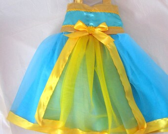 Merida Costume Dress: blue and gold fancy, Brave, lined tutu dress, birthday party, princess trip, dinner, meet and greet, adjustable