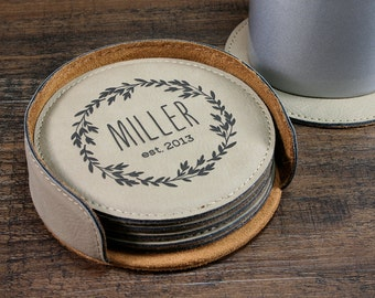 Personalized Coaster Set, Leather Coasters, Customized Coasters, Engraved Coasters, Monogrammed Coasters, Laurel Wreath Design, Gift idea