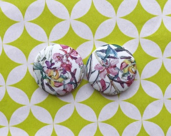 Fabric Covered Button Earrings / Liberty of London / Wholesale Jewelry / Statement Piece / Bridesmaid Gifts / Vintage Inspired / Bulk /
