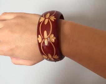 wooden cuff bracelet | chunky cut out bracelet