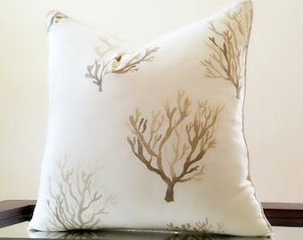 Santorini Sand Coral Decorative pillow cover with trim - Beach Pillow -  Coral Pillow case - Select your pillow size  16x16, 18 x18, 20x20