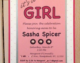 Pink Pearl Baby Shower Invitations - It's a Girl Invitations - Polka Dot Baby Shower Invitations - Custom Invitations - INVITATION SAMPLE
