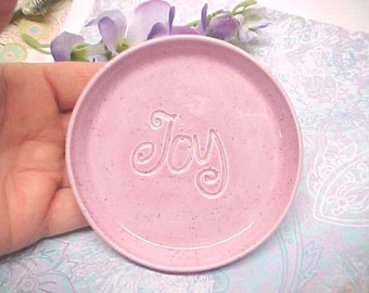 Wheel Thrown Pottery Dish, Grape Spice Speckles Glaze, Ceramic Spoon Rest, Tea Bag Holder, Dipping Bowl, Stamped JOY