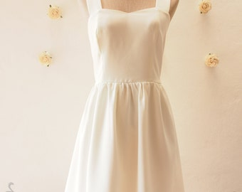 Dear Darling - Off White Dress, White Party Dress, Vintage Inspired, White Bridesmaid Dress, White Summer Dress -XS-XL, Custom