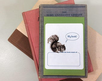 "Book plate stickers featuring a squirrel saying ""My Book!"" or ""Ex Libris"". Blank or personalized. Set of 17 plus gift envelope."