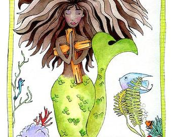 Praying Mermaid poster print of watercolor illustration sea warrior