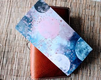 Navy Mauve Planets Traveler's Notebook Insert | Midori Insert | TN Insert | Fauxdori | Tomoe River | A5 B6 Passport Standard Pocket Nano