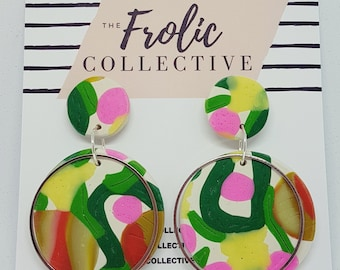 Circle Dangles / Polymer Clay / Spring View 844