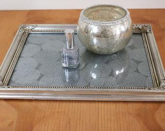 WOODEN VANITY TRAY, Silver Vanity Tray, Housewarming Gift, Dresser Tray, Entryway Decor, Dresser Perfume Tray, ooak, Ring Dish, Jewelry Tray