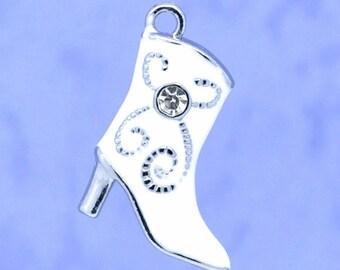 1 charm boot white enamel + rhinestones 21 x 15 mm