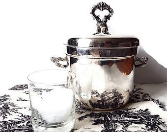 Rogers Silver Ice Bucket, Vintage Mid Century Barware/ Ice Bucket with Glass Liner